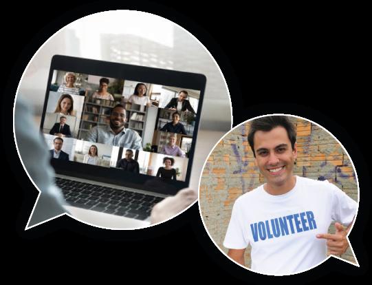 Laptop screen and volunteer
